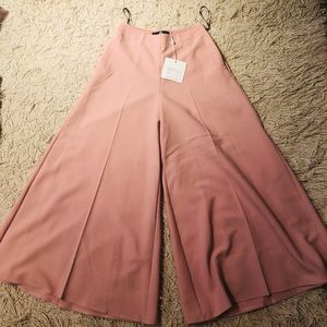 Misguided Pink Flare Wide Legged Cropped Pants